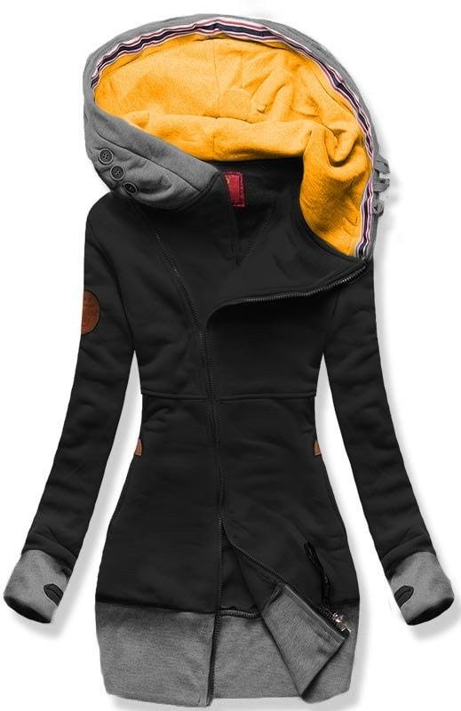 MODOVO Dlhá dámska mikina s kapucňou D560 čierna