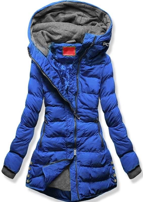 MODOVO Dámska zimná bunda s kapucňou S603 modrá