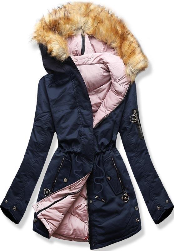 MODOVO Dámska zimná bunda s kapucňou B-736 modro-púdrová - XL