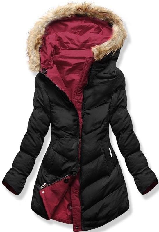 MODOVO Dámska zimná bunda s kapucňou B-746 grafitovo-bordová - XXL