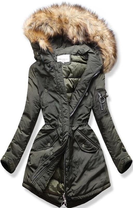 MODOVO Dámska zimná bunda s kapucňou W710 khaki