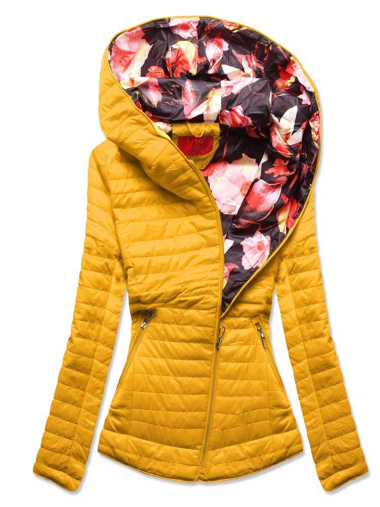 MODOVO Dámska prešívaná bunda s kvetinovou kapucňou žltá - S