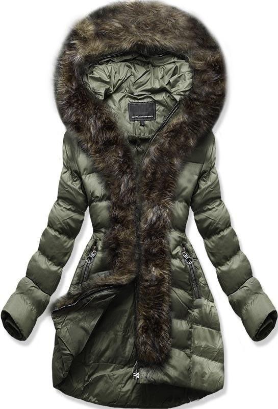 MODOVO Dámska zimná bunda s kapucňou W756 zelená