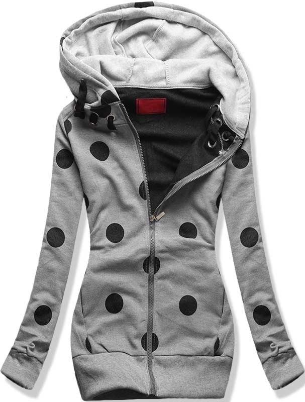 MODOVO Dlhá dámska mikina s kapucňou D380 šedá - L