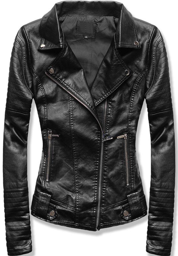 MODOVO Dámska koženková bunda čierna