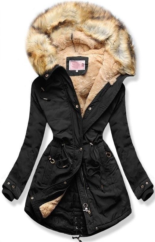 MODOVO Dámska zimná bunda s kapucňou W165 čierna - XXL