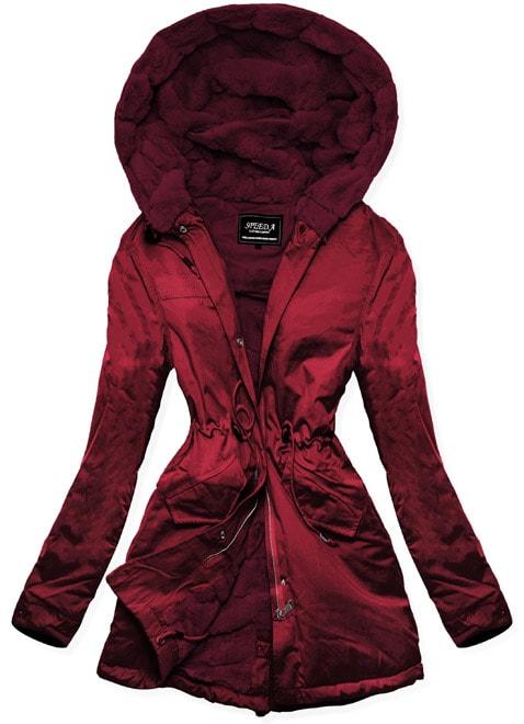MODOVO Dámska zimná bunda s kapucňou W806 bordová