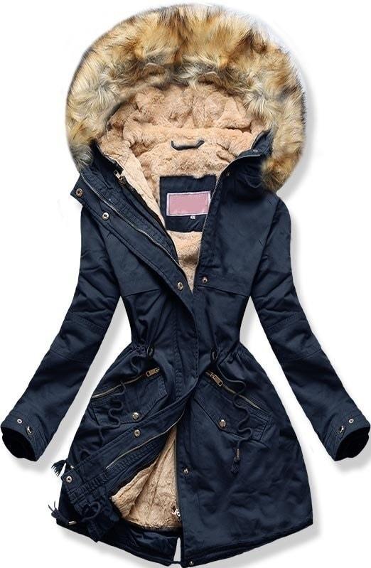 MODOVO Dámska zimná bunda s kapucňou W166-1 tmavo modrá - L