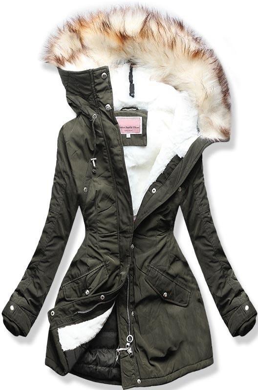 MODOVO Dámská zimní bunda s kapucí W170 khaki - XL