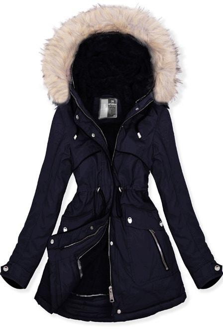 MODOVO Dámska zimná bunda W633 tmavomodrá - S