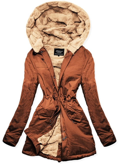 MODOVO Dámska zimná bunda s kapucňou W806 hnedá
