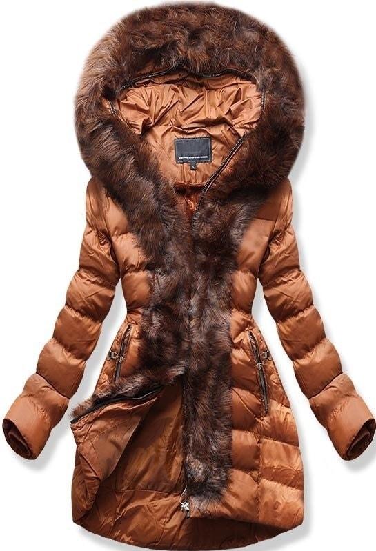 MODOVO Dámska zimná bunda s kapucňou W756 hnedá