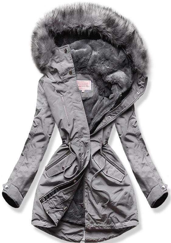 MODOVO Dámska zimná bunda W254 sivá - XS