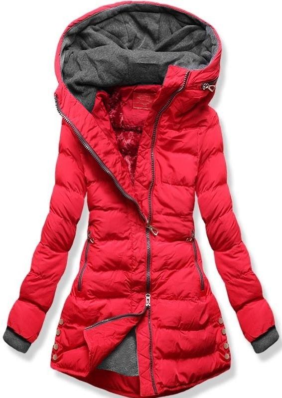 MODOVO Dámska zimná bunda s kapucňou S603 červená