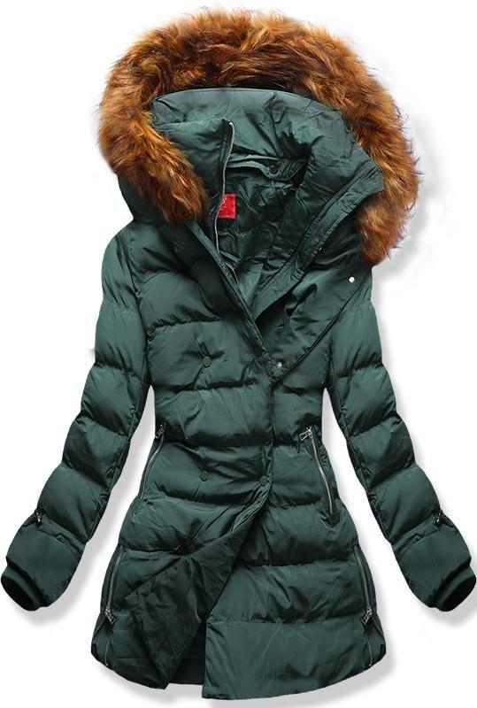 MODOVO Dámska zimná bunda s kapucňou A-248 khaki - XL
