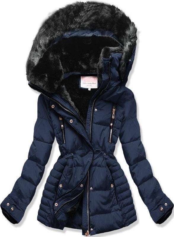 MODOVO Dámska zimná bunda s kapucňou W736 tmavo modrá - XL