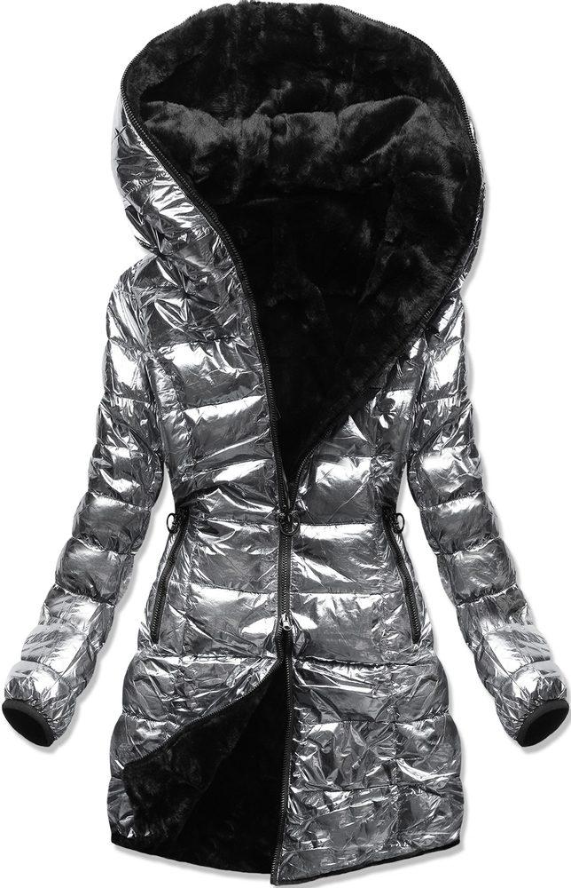 MODOVO Zimní oboustranná bunda perleťově-stříbrná