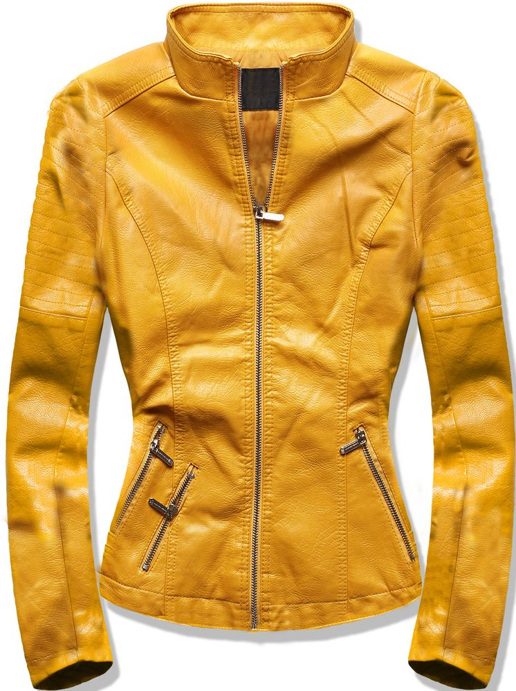MODOVO Dámska koženková bunda žltá - S