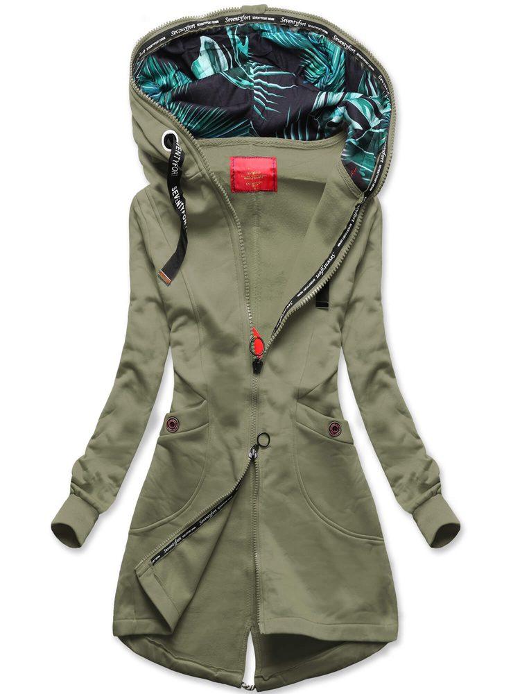 MODOVO Dámska predĺžená mikina s kapucňou khaki - XL