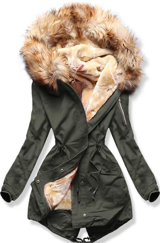 MODOVO Dámska zimná bunda B504 khaki - XS