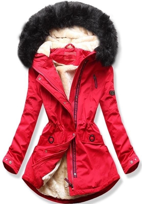 MODOVO Dámska zimná bunda s kapucňou Q35 červená