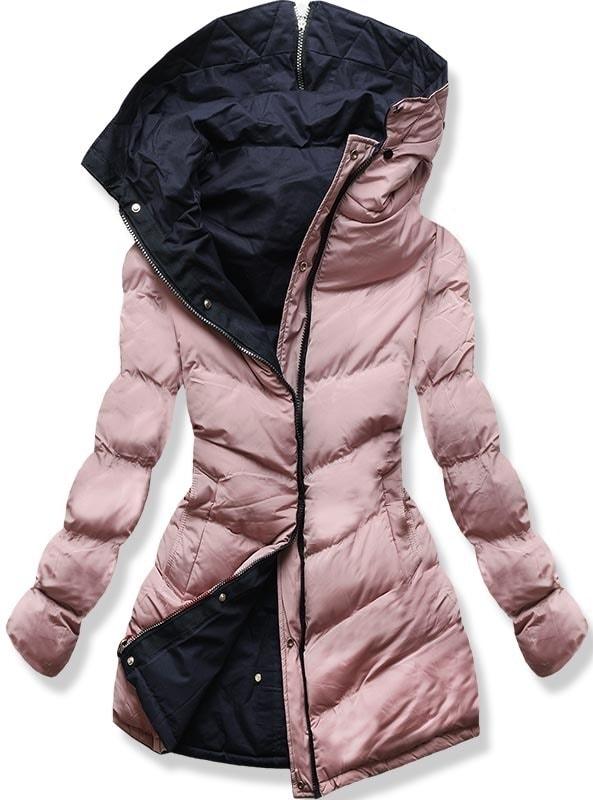 MODOVO Dámska zimná bunda s kapucňou B-736 púdrovo-modrá - XXL
