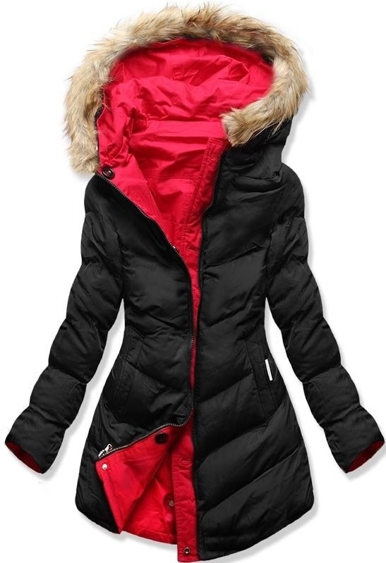 MODOVO Dámska zimná bunda s kapucňou B-746 čierno-červená - XXL