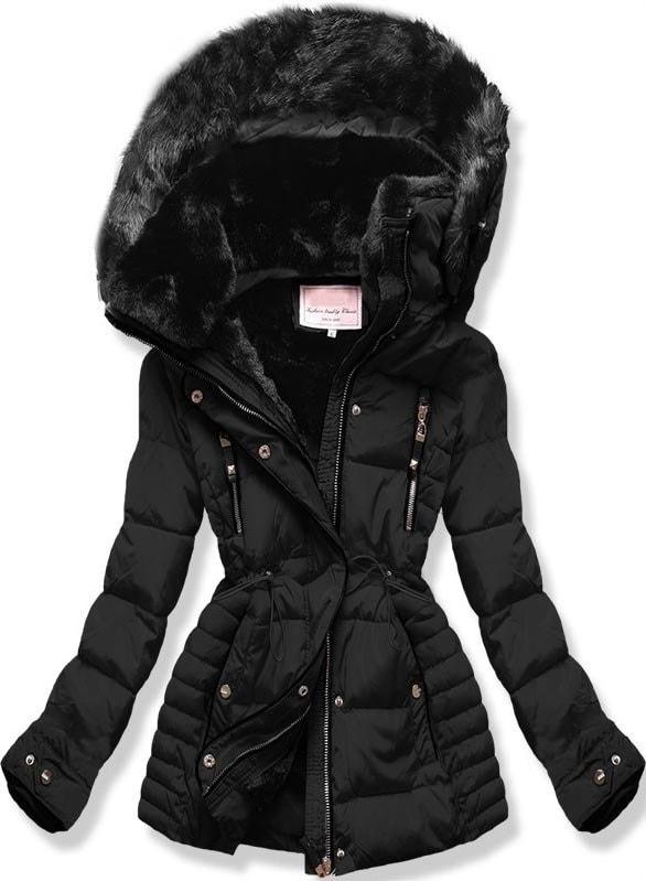 MODOVO Dámska zimná bunda s kapucňou W736 čierna