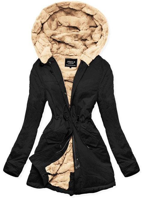 MODOVO Dámska zimná bunda s kapucňou W806 čierna