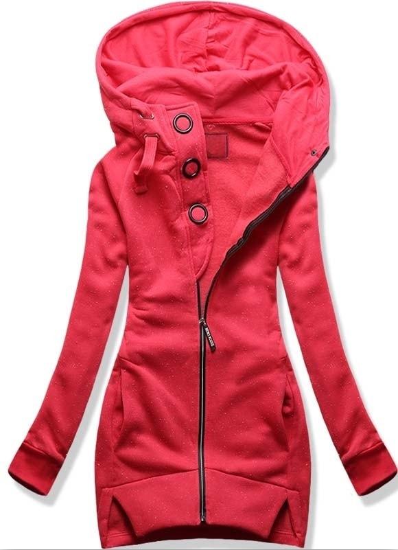 MODOVO Dlouhá dámská mikina s kapucí D383 růžová
