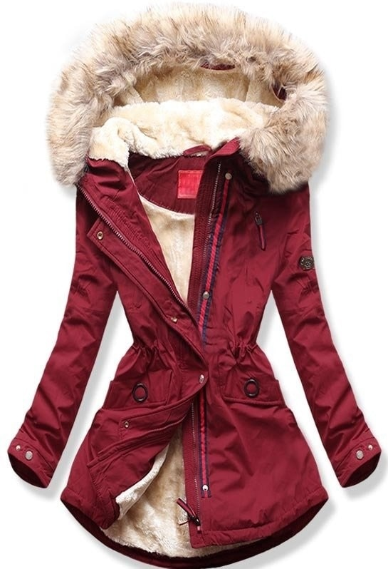 MODOVO Dámska zimná bunda s kapucňou Q35 bordová
