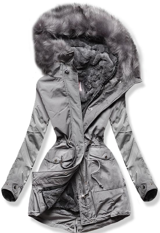 MODOVO Dámska zimná bunda W256 sivá - XS