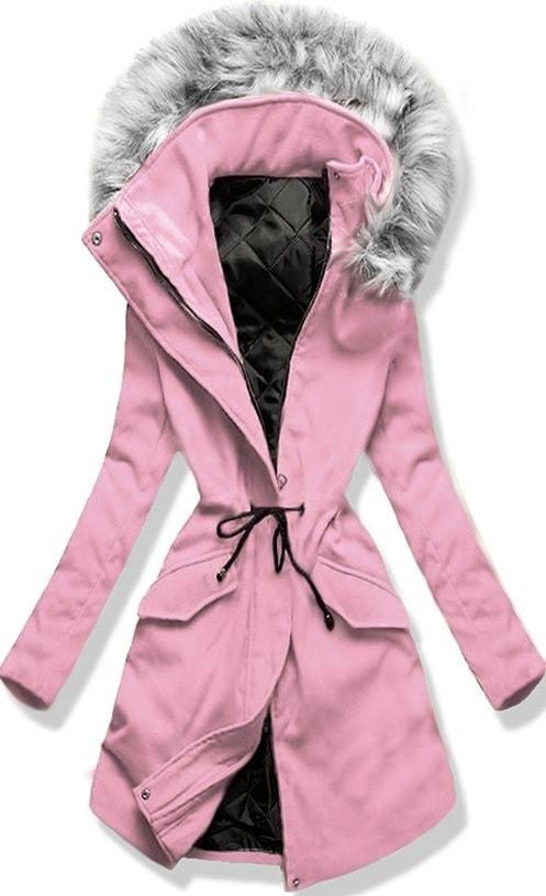 cdcc95bdbb MODOVO Dlouhý dámský kabát s kapucí 22172 pudrový - L