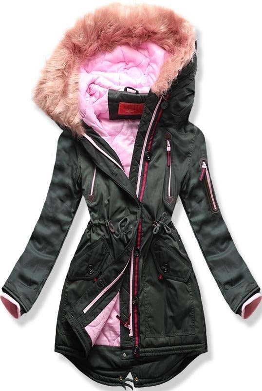 MODOVO Dámska zimná bunda s kapucňou PO-301 khaki - XL