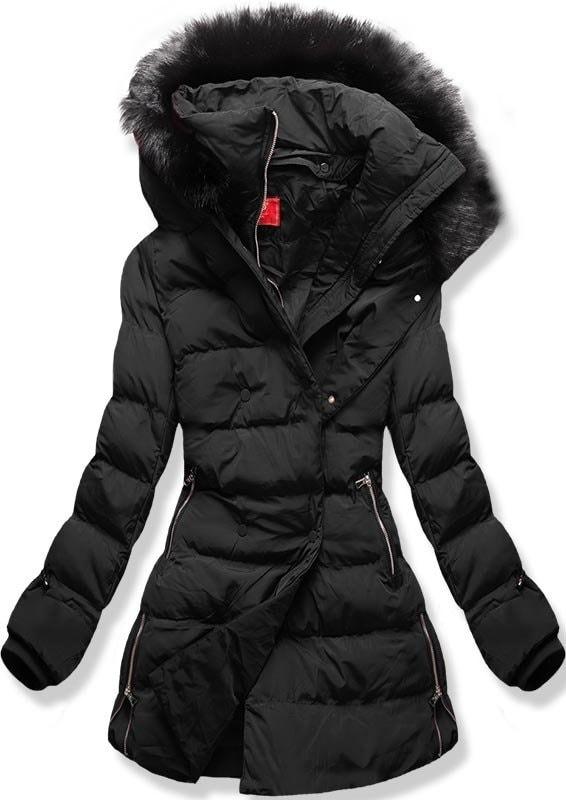 MODOVO Dámska zimná bunda s kapucňou A-248 čierna