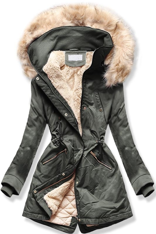 MODOVO Dámska zimná bunda B2623 khaki