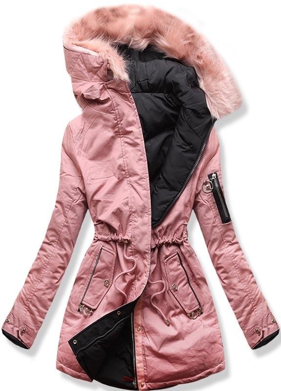 MODOVO Dámska zimná bunda s kapucňou B-736 púdrovo-čierna - XXL