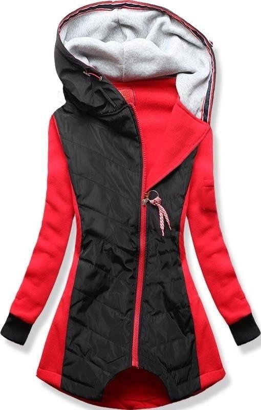 MODOVO Dlouhá dámská mikina s kapucí D530 červená