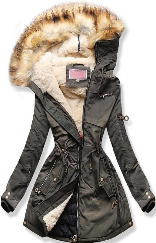 MODOVO Dámska zimná bunda s kapucňou W169 khaki