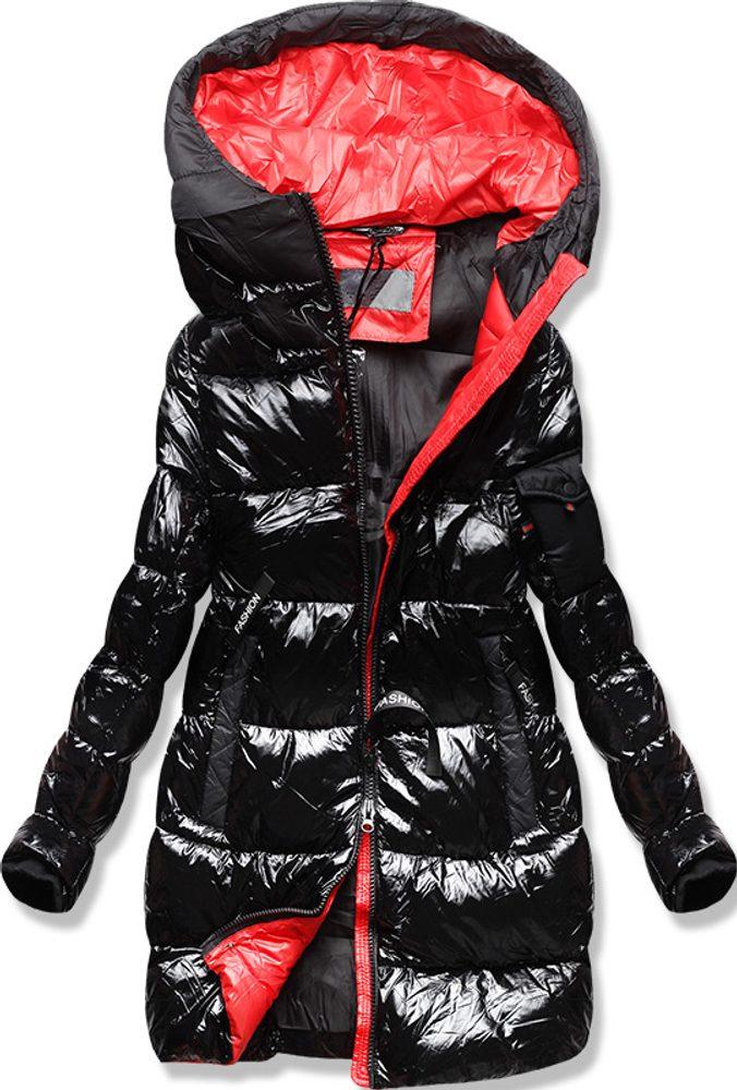 MODOVO Zimná bunda s farebnou podšívkou čierno-červená - XL