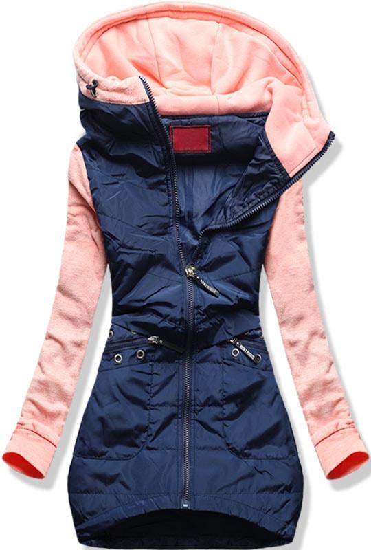 MODOVO Dlouhá dámská mikina s kapucí D357 pudrová