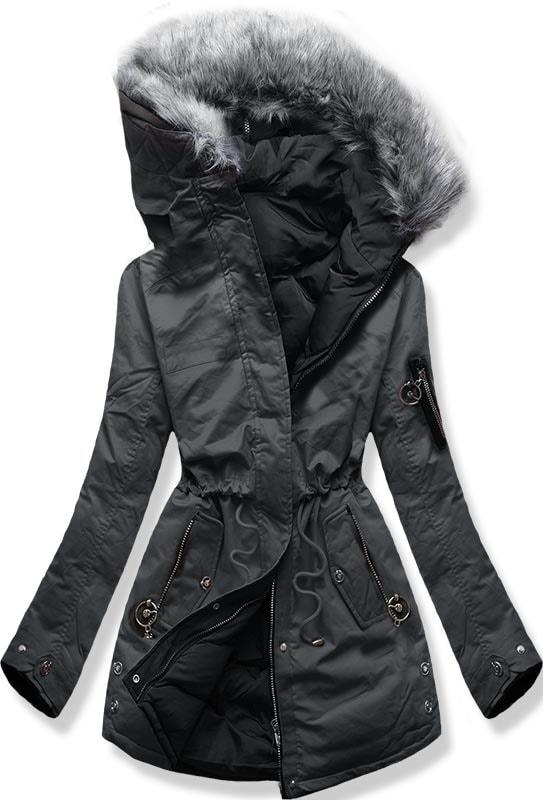 MODOVO Dámska zimná bunda s kapucňou B-736 grafitovo-čierna - S