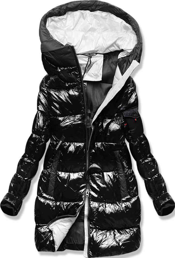 MODOVO Zimní bunda s barevnou podšívkou černo-šedá - M