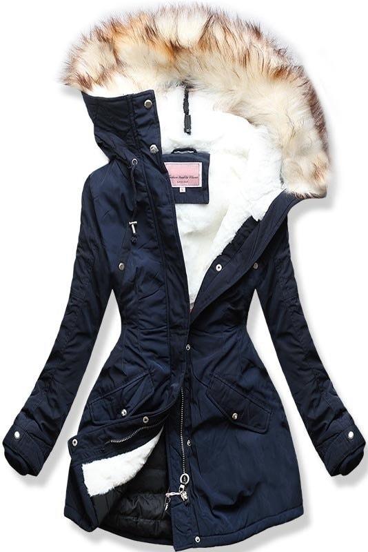 MODOVO Dámska zimná bunda s kapucňou W170 tmavo modrá - XL