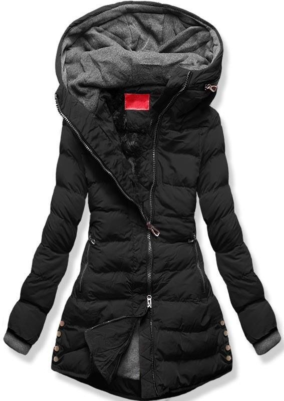 MODOVO Dámska zimná bunda s kapucňou S603 čierna