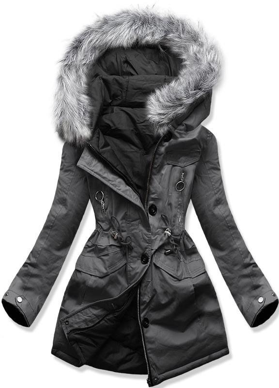 MODOVO Dámska zimná bunda s kapucňou B-746 grafitovo-čierna - XXL