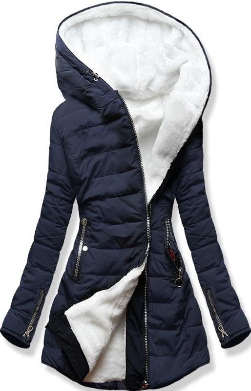 MODOVO Dámska zimná bunda s kapucňou M13 tmavo modrá - S