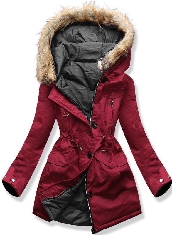 MODOVO Dámska zimná bunda s kapucňou B-746 bordovo-grafitová - XXL