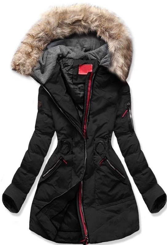MODOVO Dámska zimná bunda s kapucňou M-9 čierna - XL
