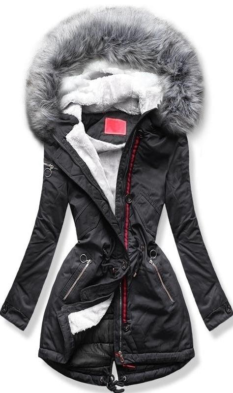 MODOVO Dámska zimná bunda s kapucňou PO-307 grafitová - XL